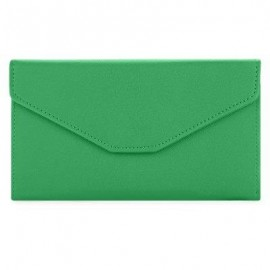 image of GUAPABIEN SOLID COLOR SNAP FASTENER CELL PHONE ENVELOPE CLUTCH WALLET (GRASS GREEN) -