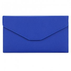 image of GUAPABIEN SOLID COLOR SNAP FASTENER CELL PHONE ENVELOPE CLUTCH WALLET (SAPPHIRE BLUE) -