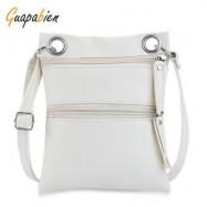 image of GUAPABIEN DOUBLE ZIPPERS SOLID COLOR LADDER LOCK SHOULDER MESSENGER BAG (WHITE) -
