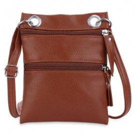 image of GUAPABIEN DOUBLE ZIPPERS SOLID COLOR LADDER LOCK SHOULDER MESSENGER BAG (BROWN) -
