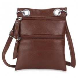 image of GUAPABIEN DOUBLE ZIPPERS SOLID COLOR LADDER LOCK SHOULDER MESSENGER BAG (DEEP BROWN) -