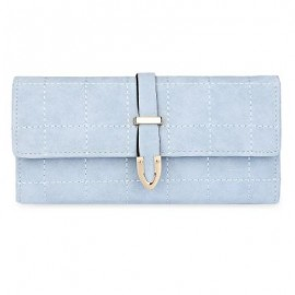 image of STYLISH PATTERN SUCTION BUTTON DESIGN WALLET (LIGHT BLUE) -