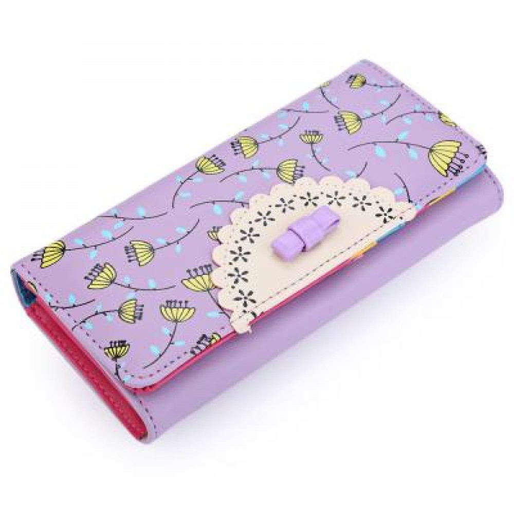 BOWKNOT FLORAL HASP VERTICAL LONG CLUTCH WALLET FOR LADY (VIOLET) 10.00 x 3.50 x 18.80 cm