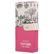 image of LANDSCAPE IMAGE PRINT LETTER EMBELLISHMENT SNAP FASTENER LONG CLUTCH WALLET (ROSE MADDER) 10.00 x 3.50 x 19.40 cm