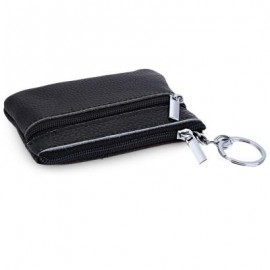 image of FASHIONABLE SOLID COLOR LEATHER COIN PURSE (BLACK) 10.50 x 1.00 x 7.50 cm