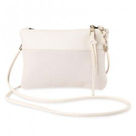 image of BRIEF PURE COLOR PU LEATHER CROSSBODY BAG FOR WOMEN (OFF-WHITE) -