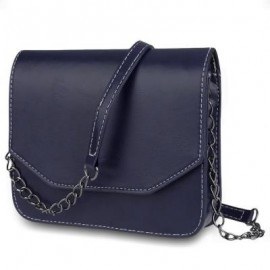 image of GUAPABIEN MAGNET BUTTON CHAIN BELT STRAP SOLID COLOR SHOULDER MESSENGER BAG (BLUE) HORIZONTAL