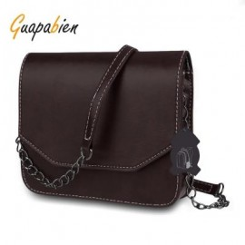 image of GUAPABIEN MAGNET BUTTON CHAIN BELT STRAP SOLID COLOR SHOULDER MESSENGER BAG (DEEP BROWN) HORIZONTAL
