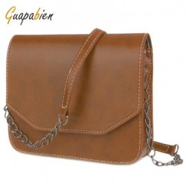 image of GUAPABIEN MAGNET BUTTON CHAIN BELT STRAP SOLID COLOR SHOULDER MESSENGER BAG (LIGHT BROWN) HORIZONTAL