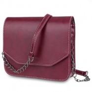 image of GUAPABIEN MAGNET BUTTON CHAIN BELT STRAP SOLID COLOR SHOULDER MESSENGER BAG (RED) HORIZONTAL