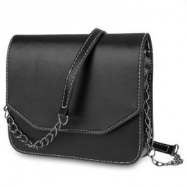image of GUAPABIEN MAGNET BUTTON CHAIN BELT STRAP SOLID COLOR SHOULDER MESSENGER BAG (BLACK) HORIZONTAL