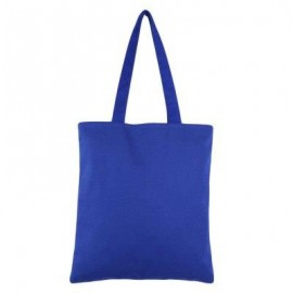 image of GUAPABIEN SOLID COLOR OPEN CANVAS COTTON HANDCRAFT THICK PORTABLE SHOULDER BAG FOR WOMEN (BLUE) TWO LAYERS