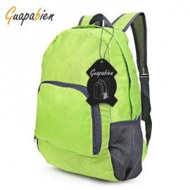 image of GUAPABIEN UNISEX FOLDABLE LIGHT PLAID PATTERN PORTABLE BAG BACKPACK (GREEN) VERTICAL