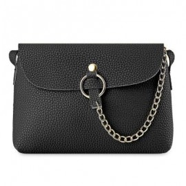 image of BRIEF CHAIN EMBELLISHED CROSSBODY BAG FOR WOMEN (BLACK) -