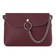 image of BRIEF CHAIN EMBELLISHED CROSSBODY BAG FOR WOMEN (WINE RED) -