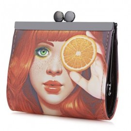 image of PANDA GRAFFITI OIL PAINTING METAL FRAME PURSE COIN CASE FOR LADY (ORANGE) -