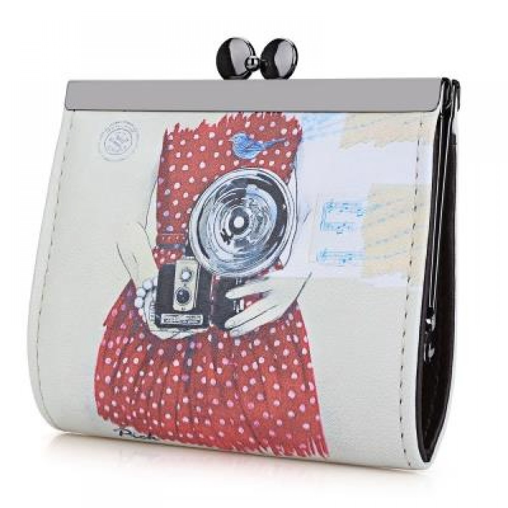 PANDA GRAFFITI OIL PAINTING METAL FRAME PURSE COIN CASE FOR LADY (RED) -