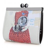 image of PANDA GRAFFITI OIL PAINTING METAL FRAME PURSE COIN CASE FOR LADY (RED) -