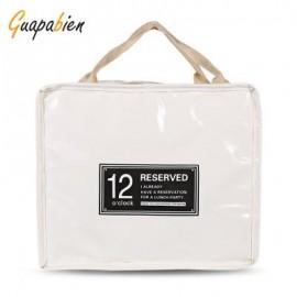 image of GUAPABIEN INSULATION HANDBAG MINAUDIERE COOLER LUNCH BAG (OFF-WHITE) BIG