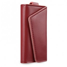image of PURE COLOR SOFT CARD HOLDER KEY CASE WALLET WITH SNAP HOOK FOR UNISEX (RED) 7.00 x 2.50 x 11.40 cm