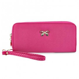 image of BOWKNOT RIVET DETACHABLE STRAP WRIST CLUTCH WALLET (ROSE MADDER) 20.20 x 2.90 x 9.80 cm