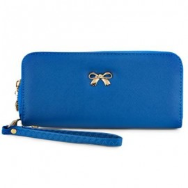 image of BOWKNOT RIVET DETACHABLE STRAP WRIST CLUTCH WALLET (SAPPHIRE BLUE) 20.20 x 2.90 x 9.80 cm