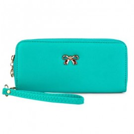 image of BOWKNOT RIVET DETACHABLE STRAP WRIST CLUTCH WALLET (LIGHT BLUE) 20.20 x 2.90 x 9.80 cm
