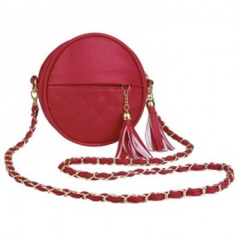 image of GUAPABIEN ROUND PLAID TASSEL DETACHABLE CHAIN BELT STRAP SHOULDER MESSENGER BAG (RED) ROUND