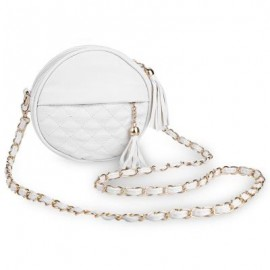 image of GUAPABIEN ROUND PLAID TASSEL DETACHABLE CHAIN BELT STRAP SHOULDER MESSENGER BAG (WHITE) ROUND