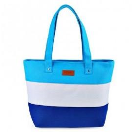 image of GUAPABIEN STRIPE LETTER PATCHWORK CANVAS ZIPPER PORTABLE BAG FOR WOMEN (BLUE) HORIZONTAL