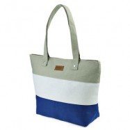 image of GUAPABIEN STRIPE LETTER PATCHWORK CANVAS ZIPPER PORTABLE BAG FOR WOMEN (LIGHT GRAY) HORIZONTAL
