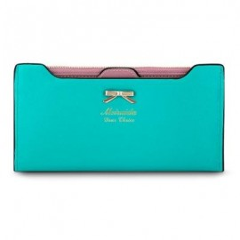 image of GUAPABIEN BOWKNOT LETTER SOLID COLOR HASP ZIPPER HORIZONTAL LONG WALLET FOR LADY (BLUE) ??