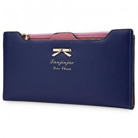 image of GUAPABIEN BOWKNOT LETTER SOLID COLOR HASP ZIPPER HORIZONTAL LONG WALLET FOR LADY (DEEP BLUE) ??