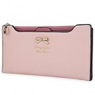 image of GUAPABIEN BOWKNOT LETTER SOLID COLOR HASP ZIPPER HORIZONTAL LONG WALLET FOR LADY (LIGHT PINK) ??