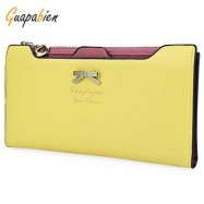 image of GUAPABIEN BOWKNOT LETTER SOLID COLOR HASP ZIPPER HORIZONTAL LONG WALLET FOR LADY (YELLOW) ??