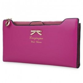 image of GUAPABIEN BOWKNOT LETTER SOLID COLOR HASP ZIPPER HORIZONTAL LONG WALLET FOR LADY (ROSE) ??