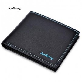image of BAELLERRY SOFT LETTER DOUBLE THREADS SOLID COLOR OPEN MONEY PHOTO CARD WALLET (BLACK) HORIZONTAL