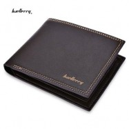 image of BAELLERRY SOFT LETTER DOUBLE THREADS SOLID COLOR OPEN MONEY PHOTO CARD WALLET (COFFEE) HORIZONTAL