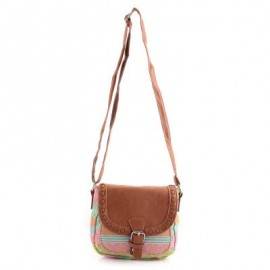 image of FRESH STYLE PRINTED SPLICED CANVAS SHOULDER BAG FOR LADIES -