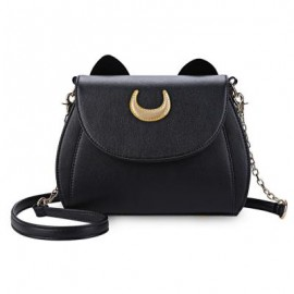 image of GUAPABIEN CAT SHAPE CRESCENT DETACHABLE STRAP RIVET SHOULDER MESSENGER BAG FOR WOMEN HORIZONTAL