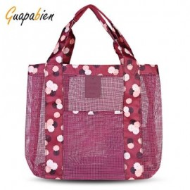 image of GUAPABIEN FLORAL PATTERNS MESH TRAVEL WOMEN HANDBAG (WINE RED) -