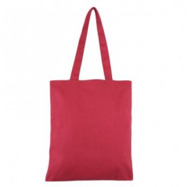 image of SOLID COLOR OPEN CANVAS COTTON HANDCRAFT THICK PORTABLE SHOULDER BAG FOR WOMEN (RED) 32.50 x 0.50 x 35.50 cm
