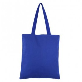 image of SOLID COLOR OPEN CANVAS COTTON HANDCRAFT THICK PORTABLE SHOULDER BAG FOR WOMEN (BLUE) 32.50 x 0.50 x 35.50 cm