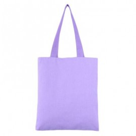 image of SOLID COLOR OPEN CANVAS COTTON HANDCRAFT THICK PORTABLE SHOULDER BAG FOR WOMEN (PURPLE) 32.50 x 0.50 x 35.50 cm