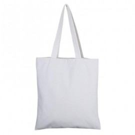 image of SOLID COLOR OPEN CANVAS COTTON HANDCRAFT THICK PORTABLE SHOULDER BAG FOR WOMEN (WHITE) 32.50 x 0.50 x 35.50 cm