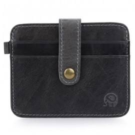 image of ROUND ELEPHANT HASP HORIZONTAL THIN WALLET FOR MEN WOMEN (GRAY) 8.6 x 0.3 x 11.5 cm