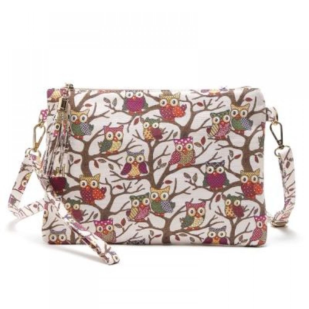 OWL BAG WOMEN CANVAS TASSEL BAG CARTOON PRINTED LADY CROSSBODY SHOULDER BAGS SMALL CUTE CLUTCHES HANDBAG ...