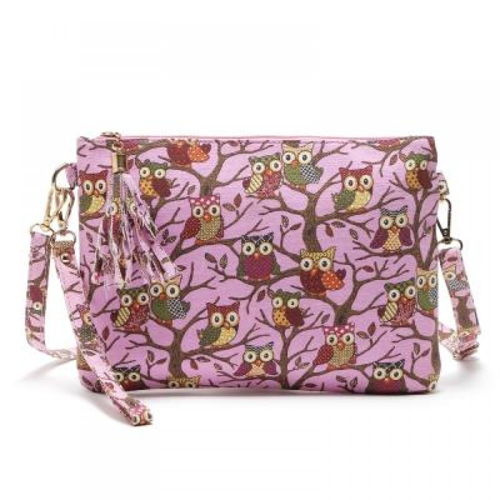 1e4da83e96 OWL BAG WOMEN CANVAS TASSEL BAG CARTOON PRINTED LADY CROSSBODY SHOULDER BAGS  SMALL CUTE CLUTCHES HANDBAG ...