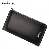 image of BAELLERRY UNISEX DOUBLE ZIPPER HORIZONTAL THIN WALLET (BLACK) -