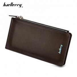 image of BAELLERRY UNISEX DOUBLE ZIPPER HORIZONTAL THIN WALLET (COFFEE) -